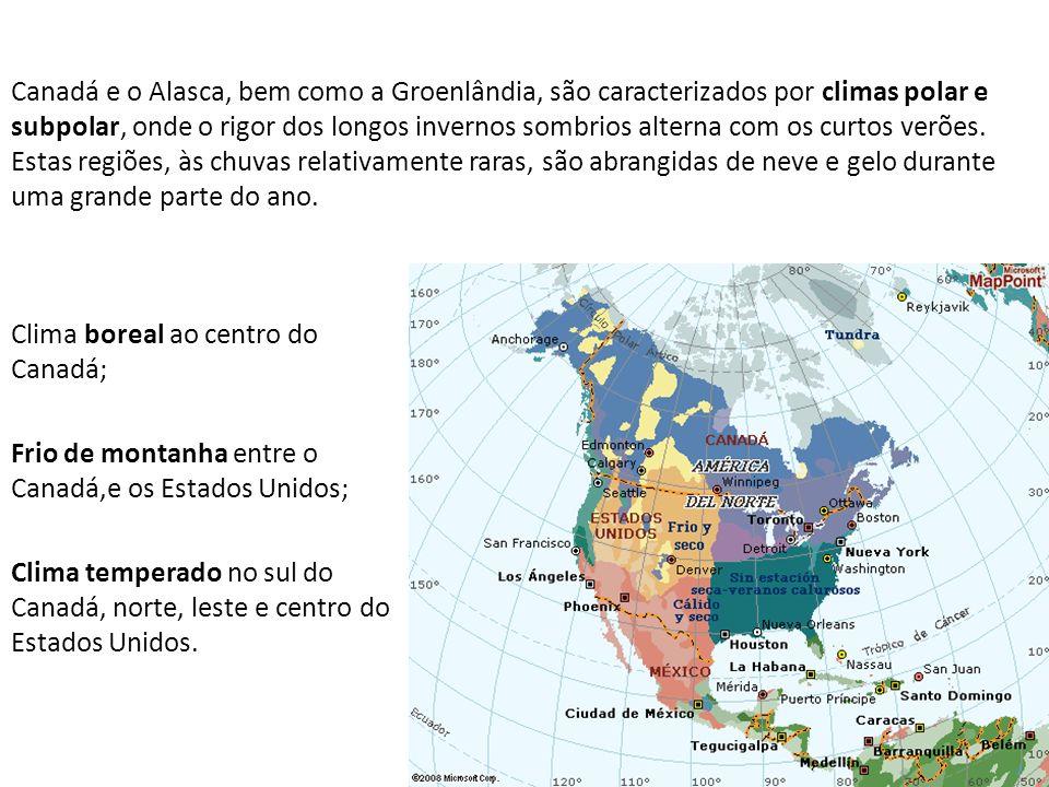 Canadá e o Alasca, bem como a Groenlândia, são caracterizados por climas polar e subpolar, onde o rigor dos longos invernos sombrios alterna com os curtos verões. Estas regiões, às chuvas relativamente raras, são abrangidas de neve e gelo durante uma grande parte do ano.
