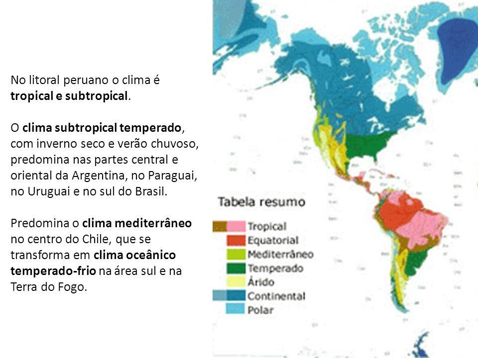 No litoral peruano o clima é tropical e subtropical