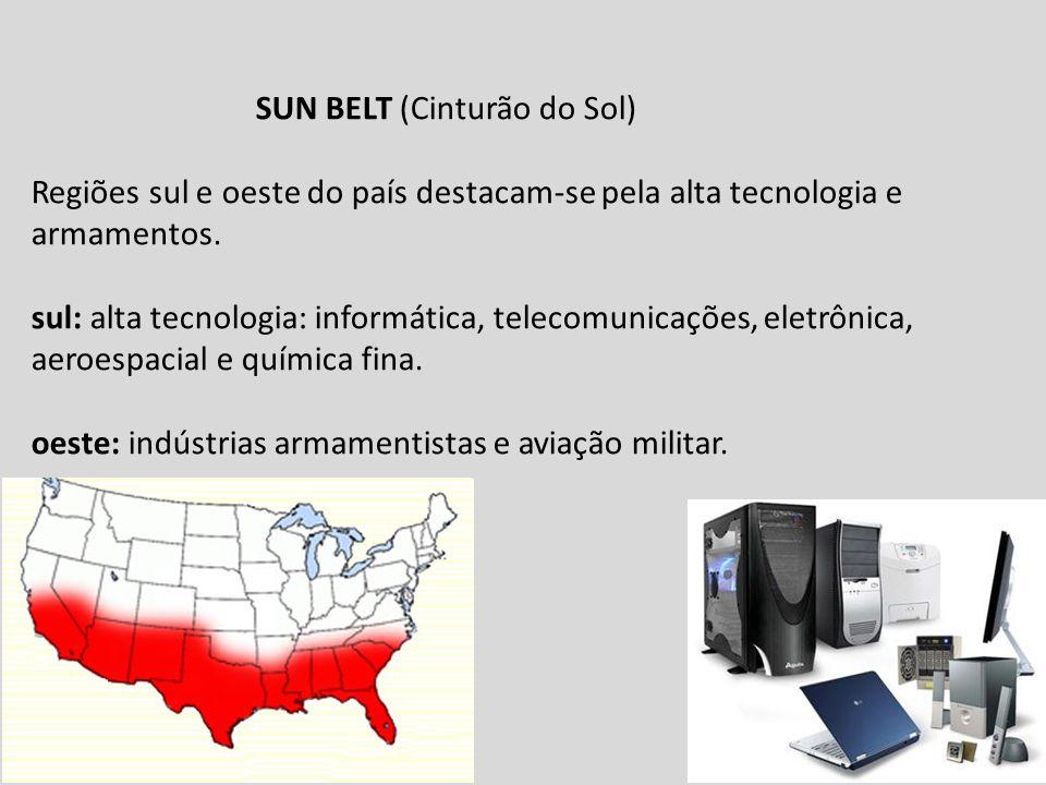 SUN BELT (Cinturão do Sol) Regiões sul e oeste do país destacam-se pela alta tecnologia e armamentos.