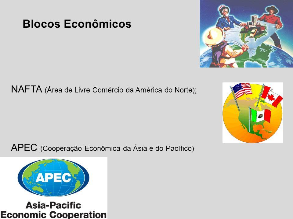 Blocos Econômicos NAFTA (Área de Livre Comércio da América do Norte);