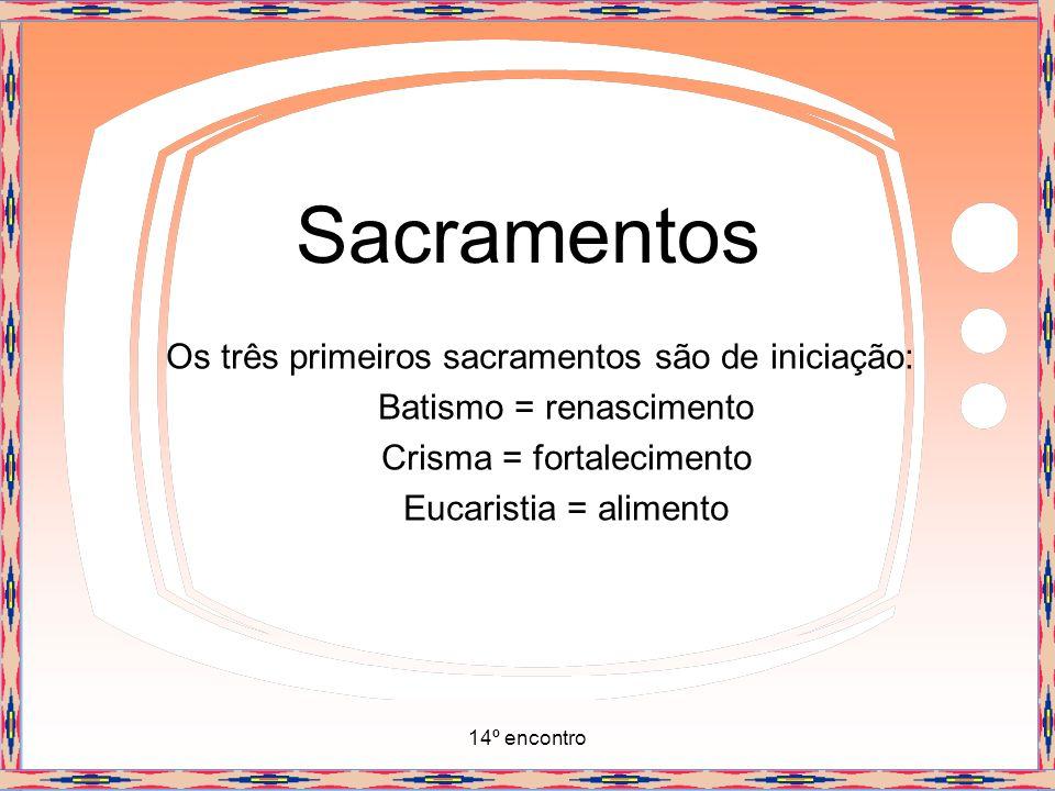 Sacramentos Os três primeiros sacramentos são de iniciação: