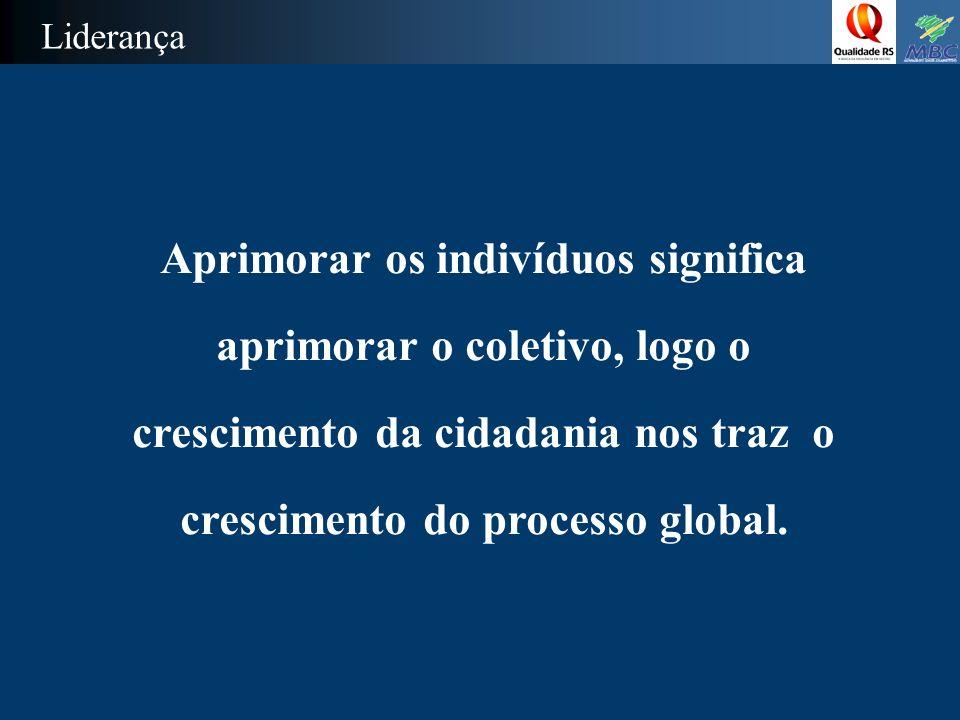 Liderança Aprimorar os indivíduos significa aprimorar o coletivo, logo o crescimento da cidadania nos traz o crescimento do processo global.