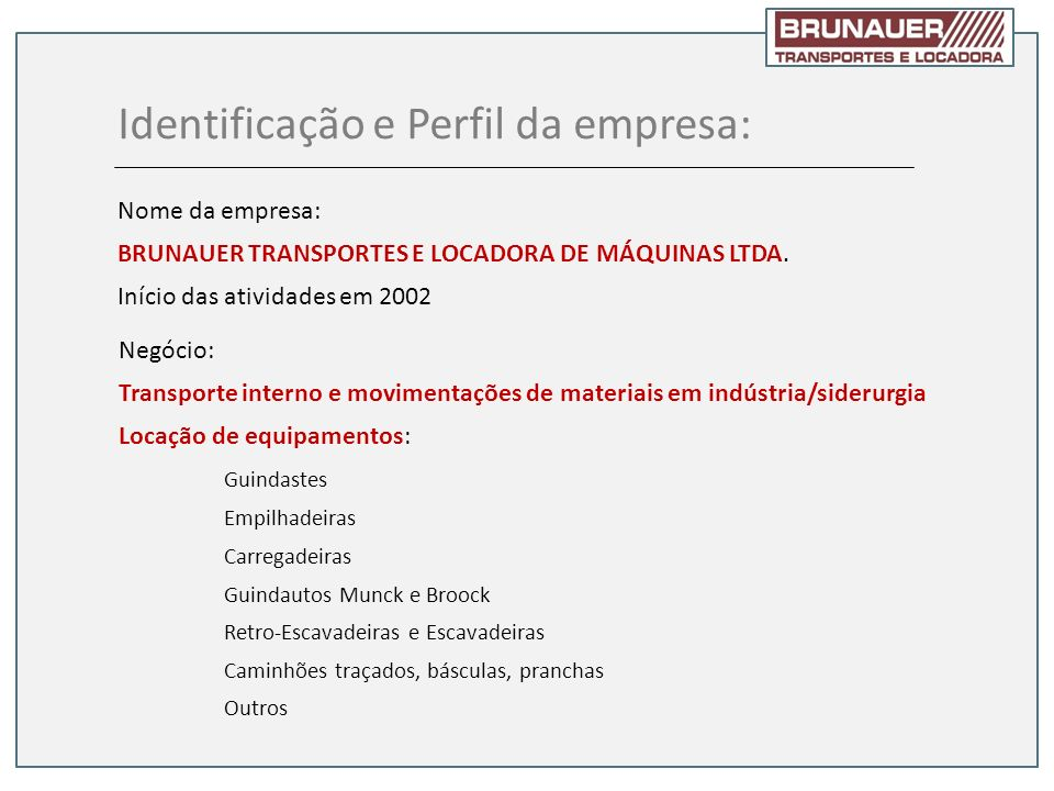 Identificação e Perfil da empresa: