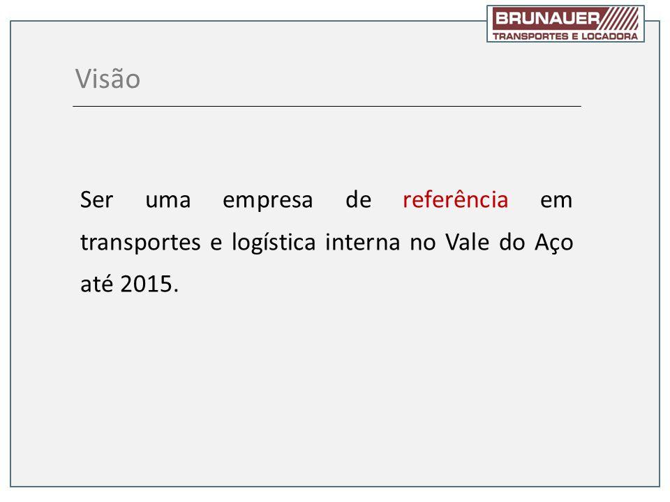 Visão Ser uma empresa de referência em transportes e logística interna no Vale do Aço até 2015.