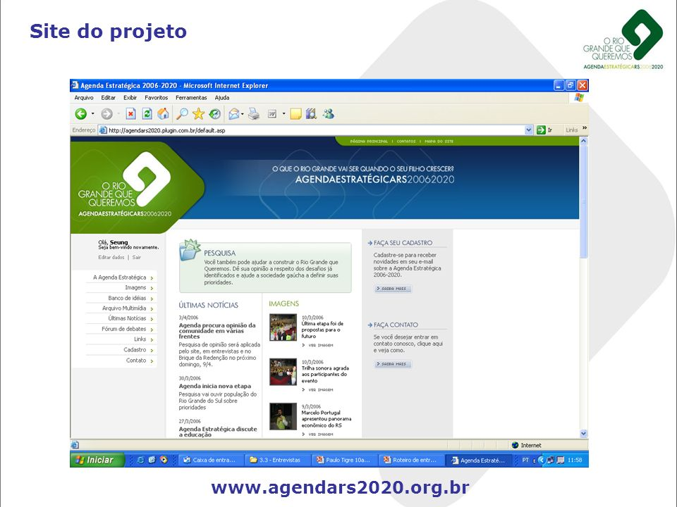 Site do projeto www.agendars2020.org.br