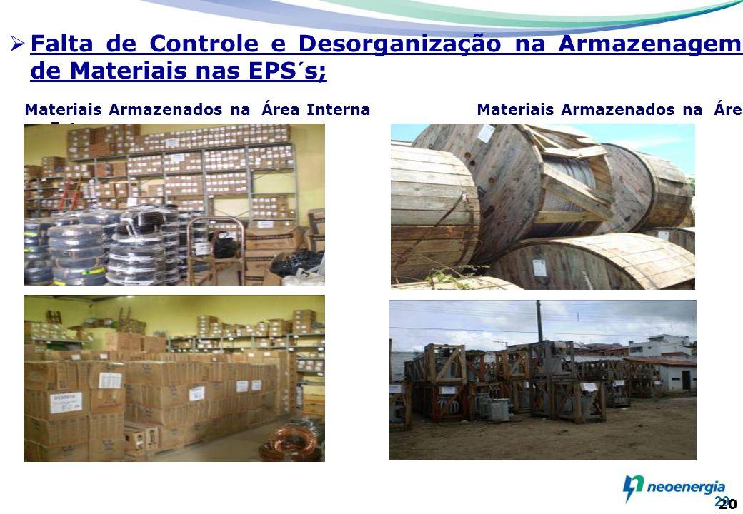 Falta de Controle e Desorganização na Armazenagem de Materiais nas EPS´s;