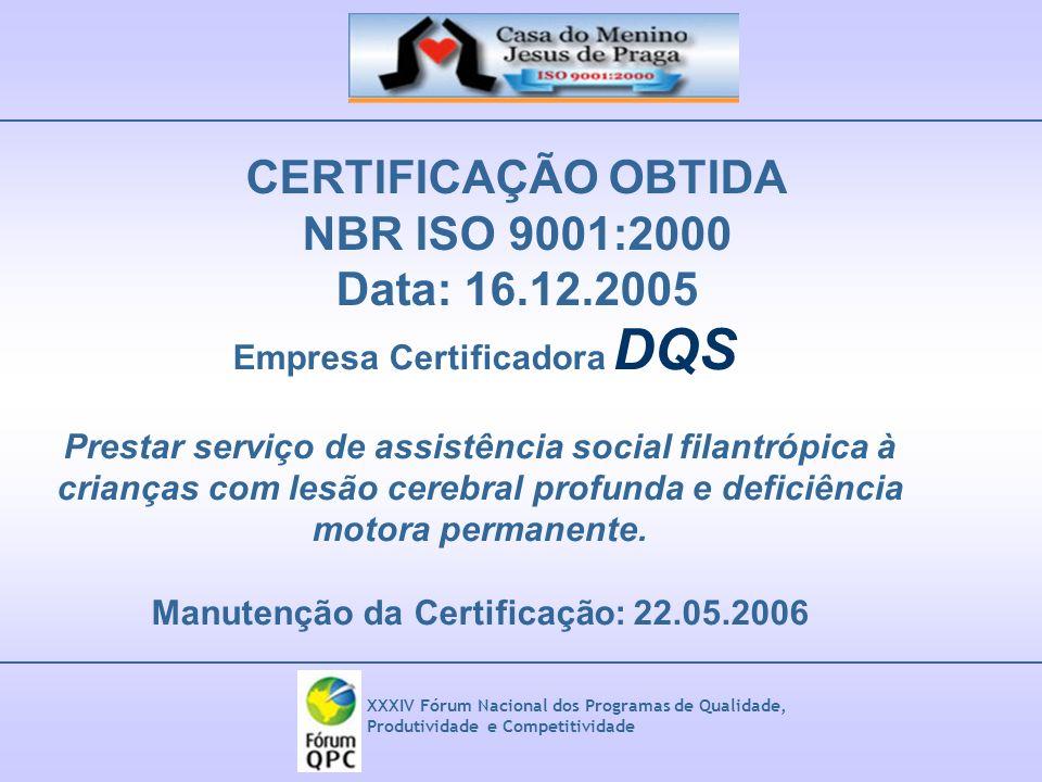 Empresa Certificadora DQS Manutenção da Certificação: 22.05.2006