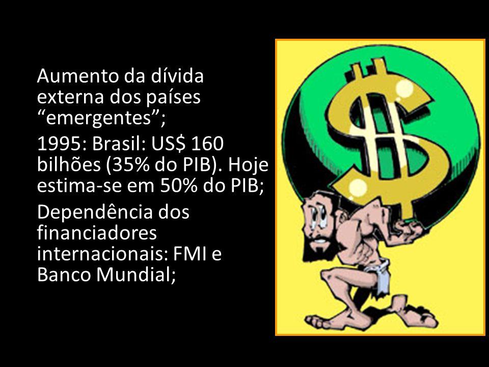 Aumento da dívida externa dos países emergentes ;