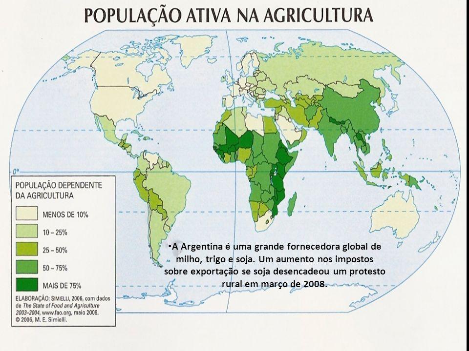 A Argentina é uma grande fornecedora global de milho, trigo e soja