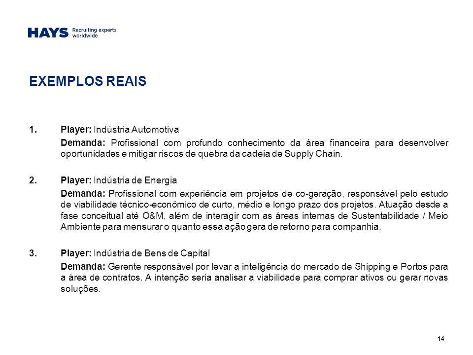 EXEMPLOS REAIS Player: Indústria Automotiva