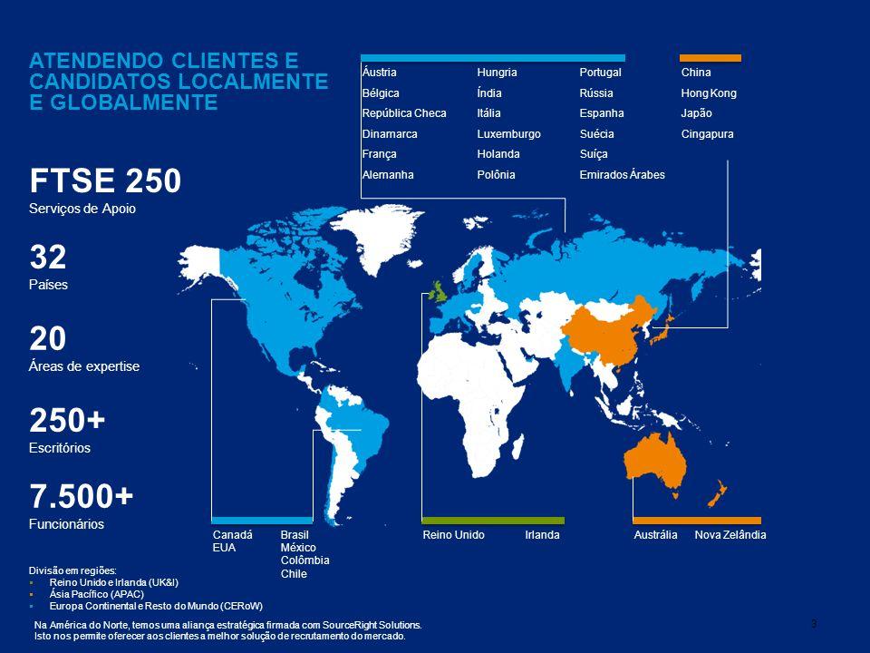 FTSE 250 32 20 250+ 7.500+ ATENDENDO CLIENTES E CANDIDATOS LOCALMENTE