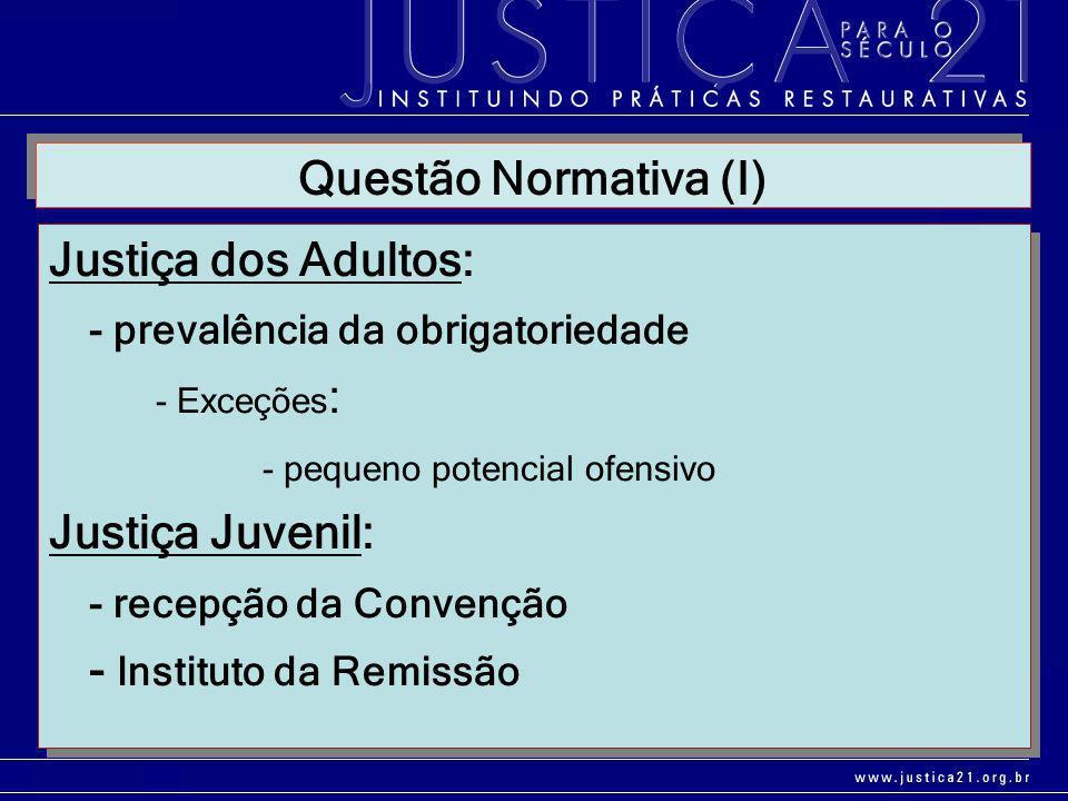 Questão Normativa (I) Justiça dos Adultos: - prevalência da obrigatoriedade. - Exceções: - pequeno potencial ofensivo.