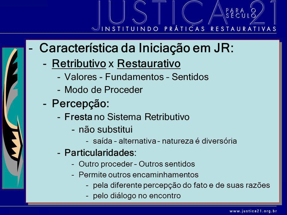 Característica da Iniciação em JR: