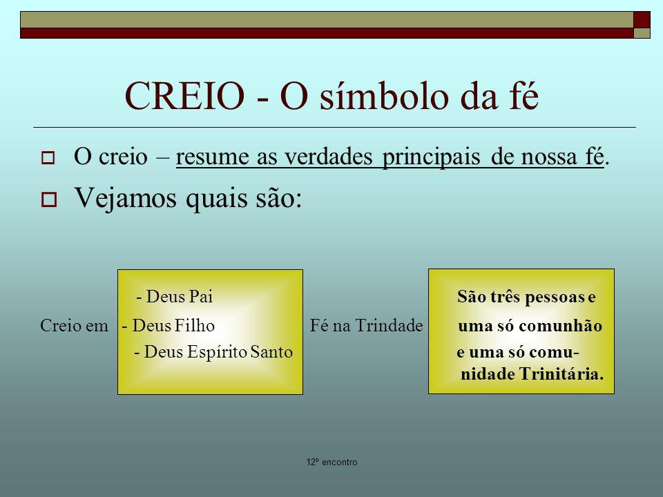 CREIO - O símbolo da fé Vejamos quais são: