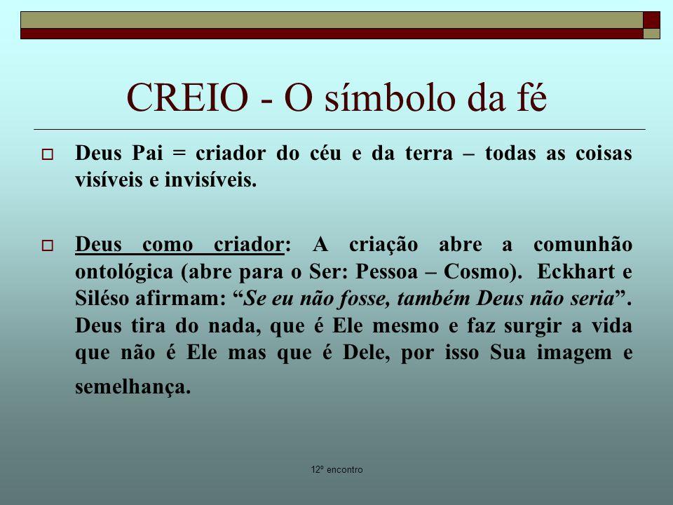 CREIO - O símbolo da fé Deus Pai = criador do céu e da terra – todas as coisas visíveis e invisíveis.