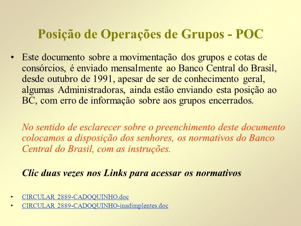 Posição de Operações de Grupos - POC