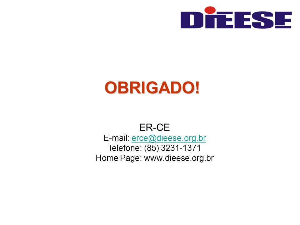 OBRIGADO! ER-CE E-mail: erce@dieese.org.br Telefone: (85) 3231-1371