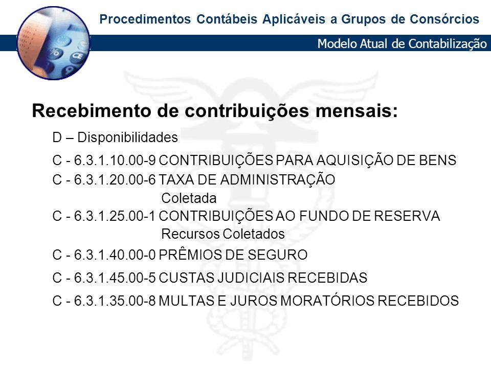 Recebimento de contribuições mensais: