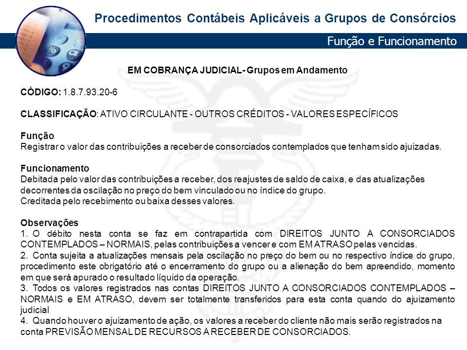 EM COBRANÇA JUDICIAL- Grupos em Andamento
