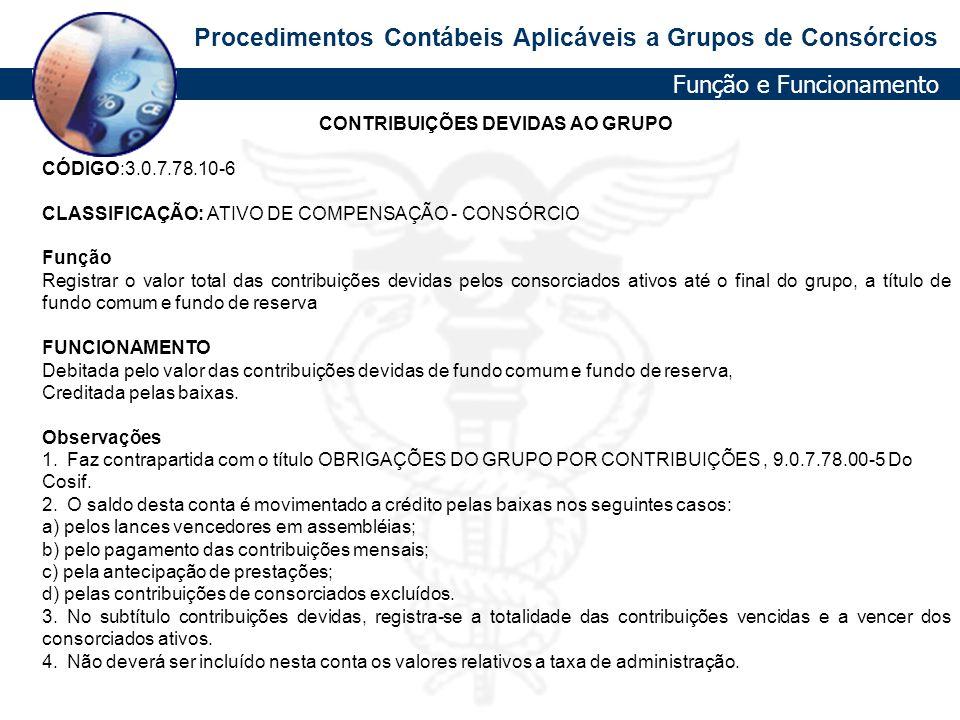CONTRIBUIÇÕES DEVIDAS AO GRUPO