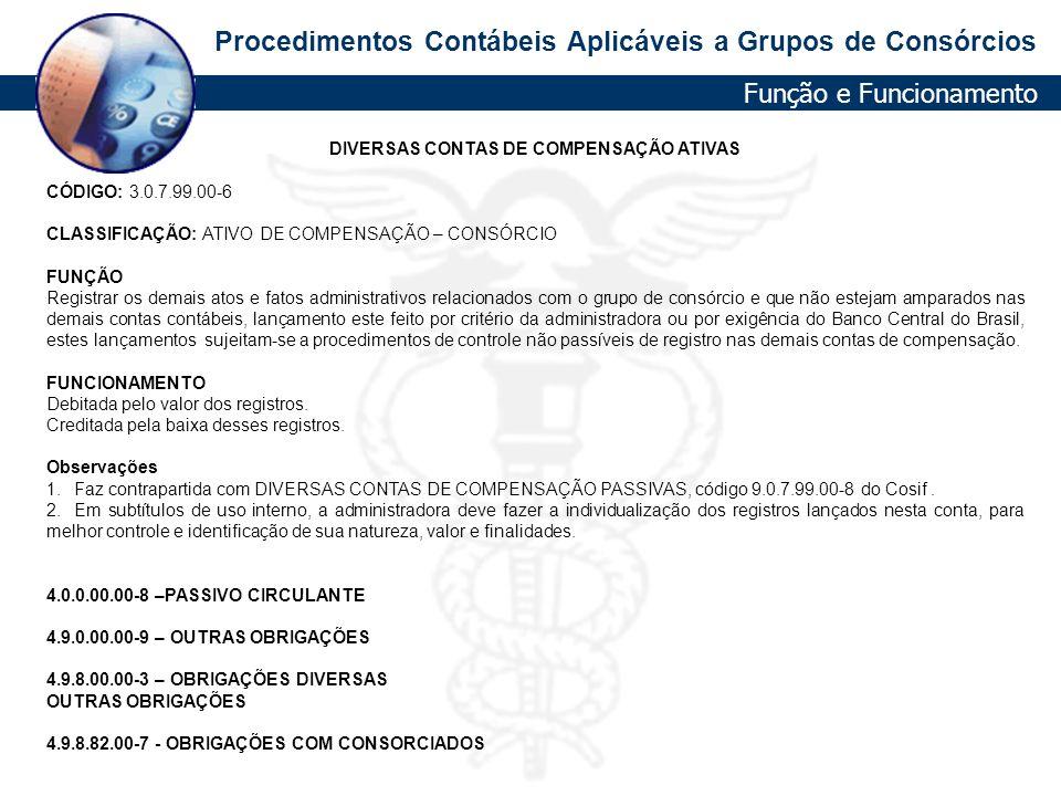 DIVERSAS CONTAS DE COMPENSAÇÃO ATIVAS