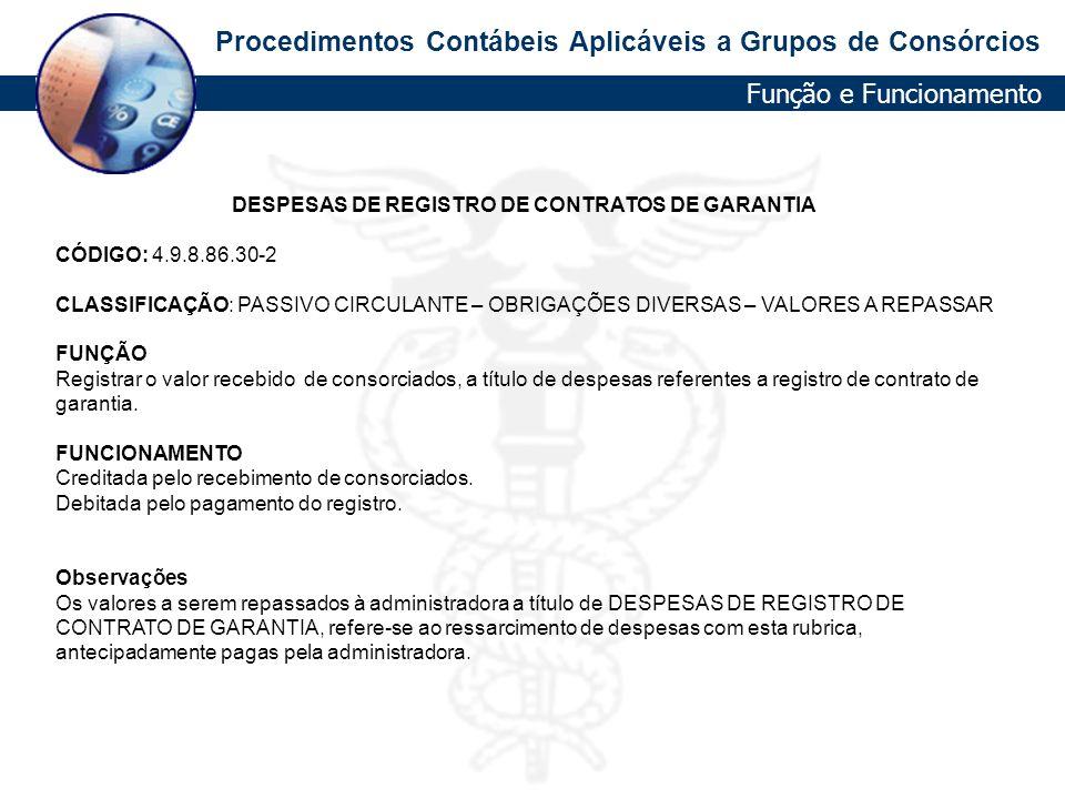 DESPESAS DE REGISTRO DE CONTRATOS DE GARANTIA