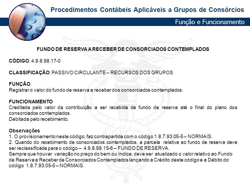 FUNDO DE RESERVA A RECEBER DE CONSORCIADOS CONTEMPLADOS