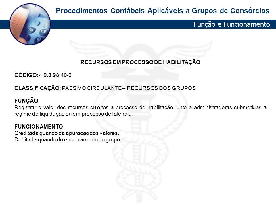 RECURSOS EM PROCESSO DE HABILITAÇÃO
