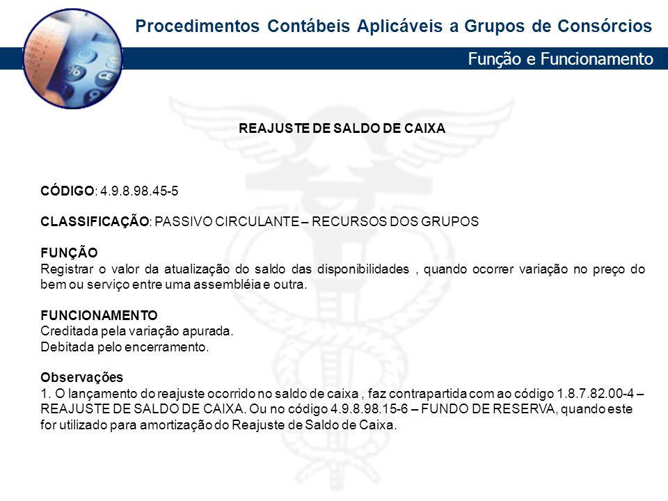 REAJUSTE DE SALDO DE CAIXA
