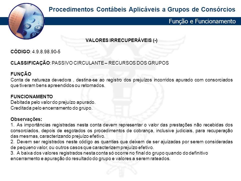 VALORES IRRECUPERÁVEIS (-)