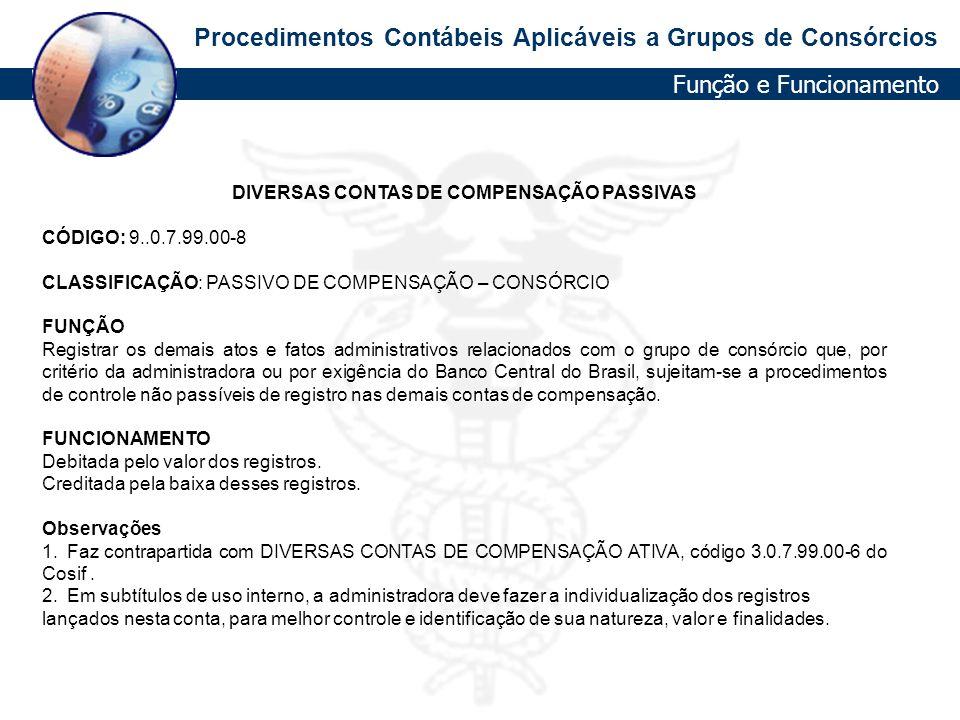 DIVERSAS CONTAS DE COMPENSAÇÃO PASSIVAS