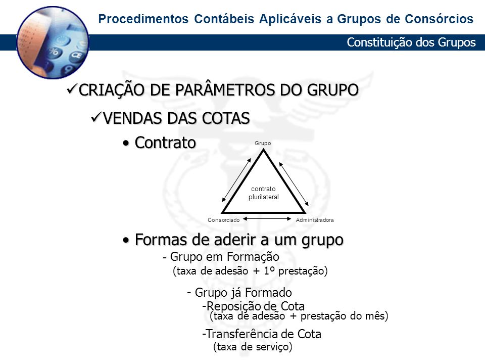 CRIAÇÃO DE PARÂMETROS DO GRUPO