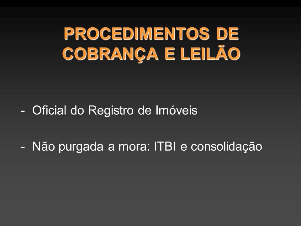 PROCEDIMENTOS DE COBRANÇA E LEILÃO