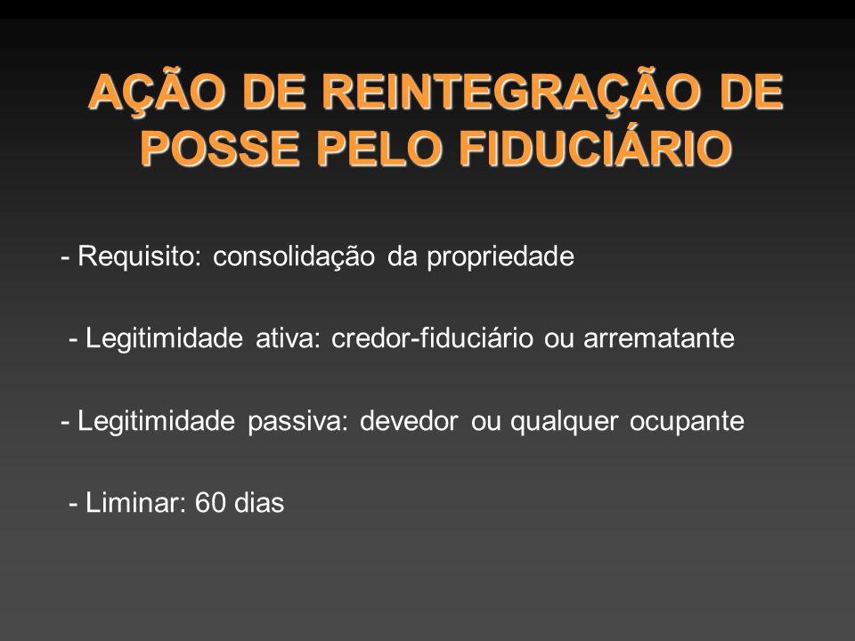 AÇÃO DE REINTEGRAÇÃO DE POSSE PELO FIDUCIÁRIO