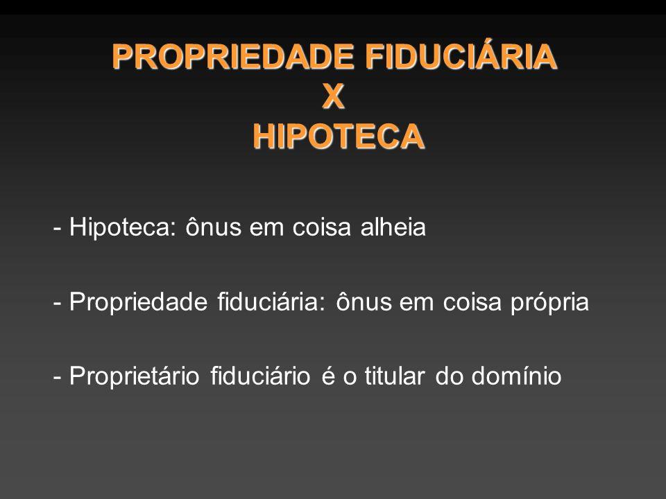 PROPRIEDADE FIDUCIÁRIA X HIPOTECA