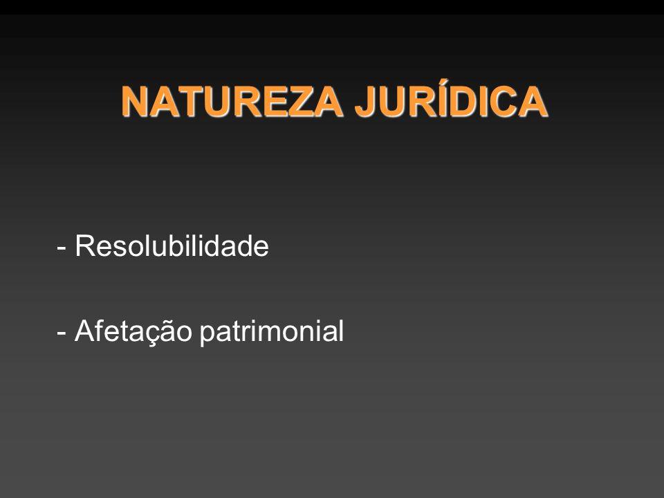 NATUREZA JURÍDICA - Resolubilidade - Afetação patrimonial
