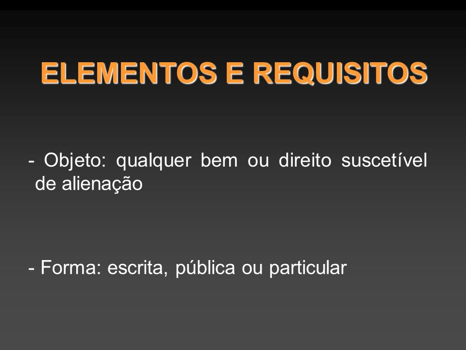 ELEMENTOS E REQUISITOS