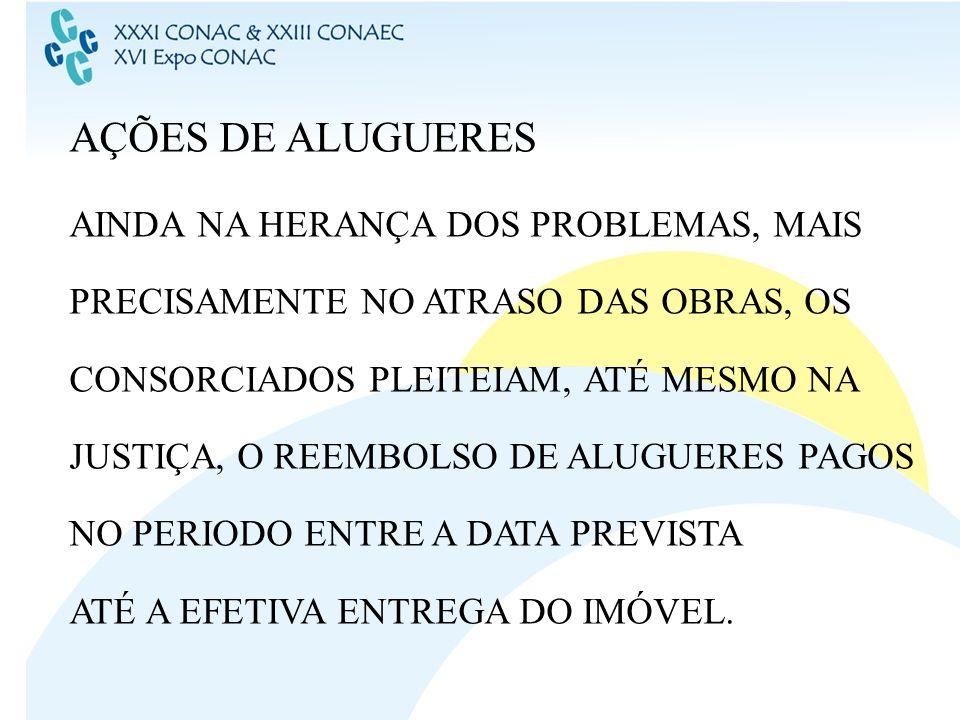 AÇÕES DE ALUGUERES AINDA NA HERANÇA DOS PROBLEMAS, MAIS