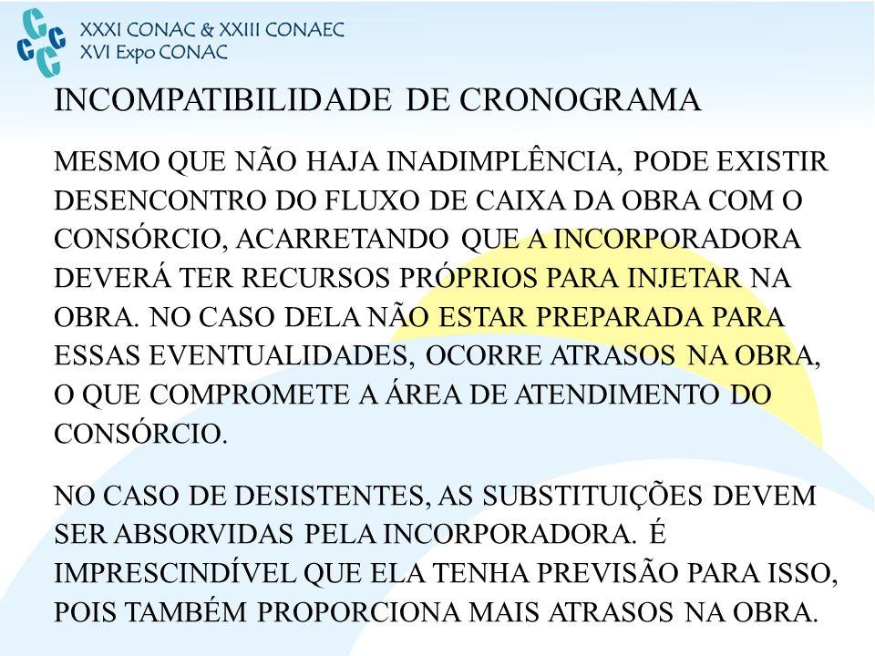 INCOMPATIBILIDADE DE CRONOGRAMA