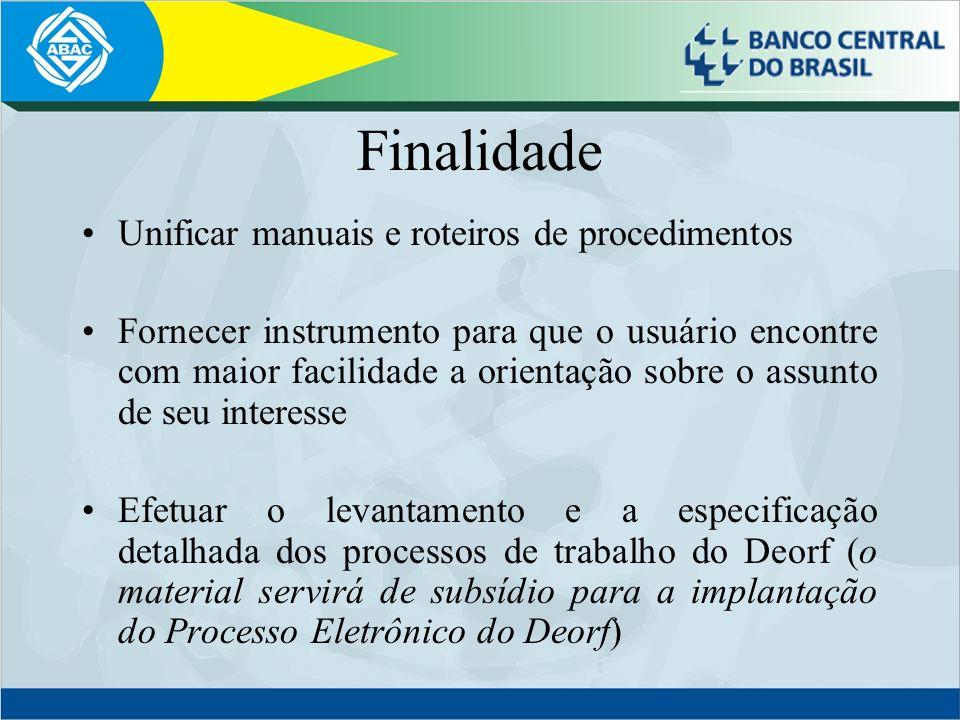 Finalidade Unificar manuais e roteiros de procedimentos