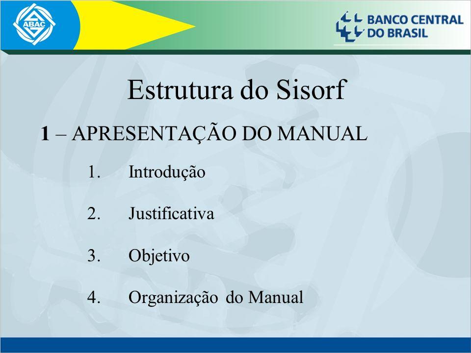 Estrutura do Sisorf 1 – APRESENTAÇÃO DO MANUAL 1. Introdução