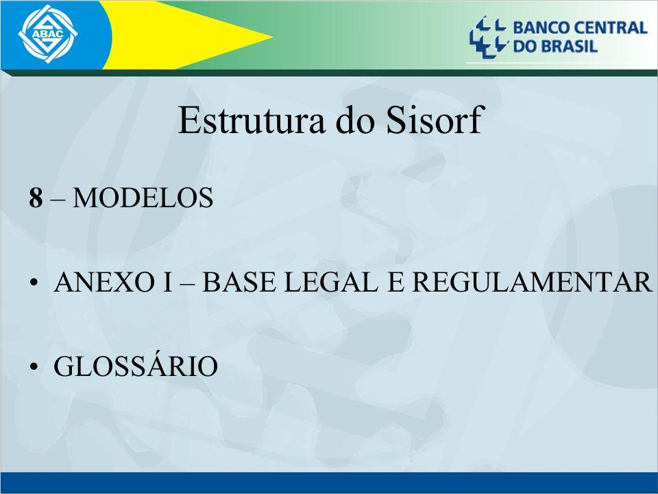 Estrutura do Sisorf 8 – MODELOS ANEXO I – BASE LEGAL E REGULAMENTAR