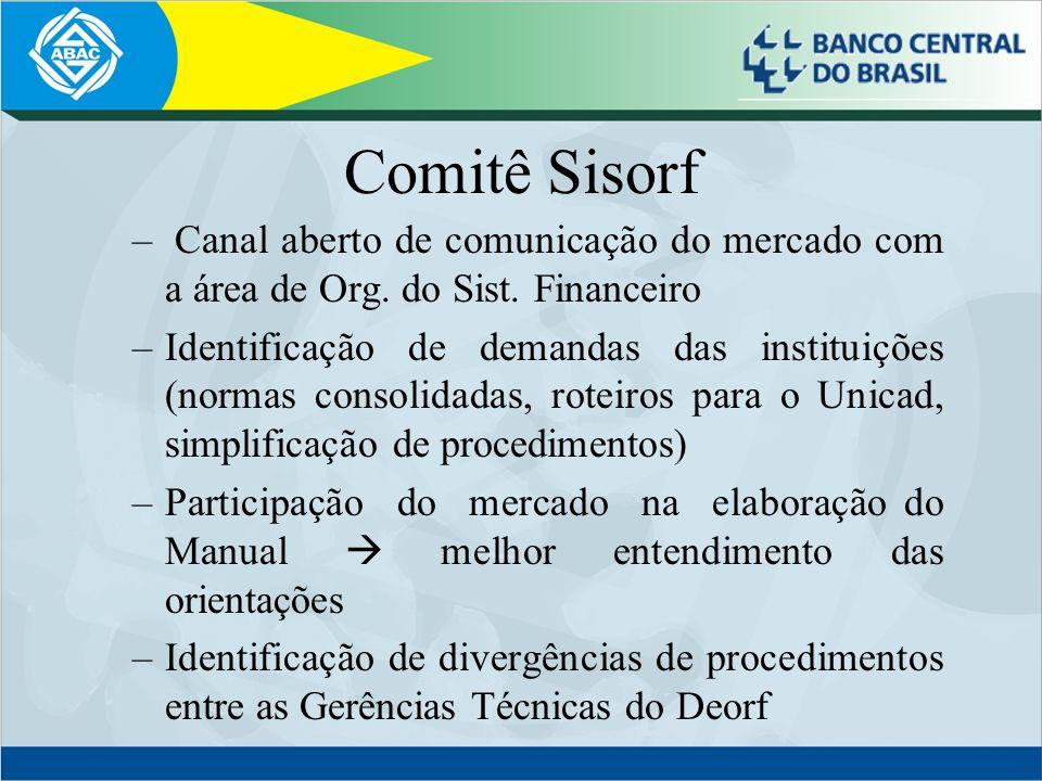 Comitê SisorfCanal aberto de comunicação do mercado com a área de Org. do Sist. Financeiro.