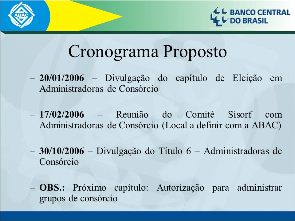 Cronograma Proposto 20/01/2006 – Divulgação do capítulo de Eleição em Administradoras de Consórcio.