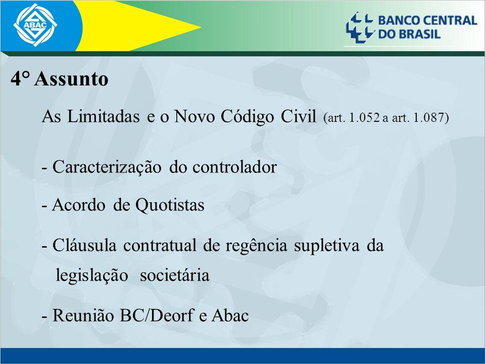 4° Assunto As Limitadas e o Novo Código Civil (art. 1.052 a art. 1.087) Caracterização do controlador.