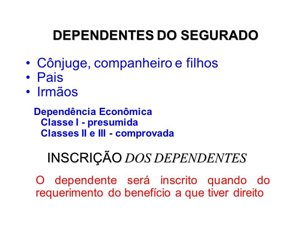 DEPENDENTES DO SEGURADO
