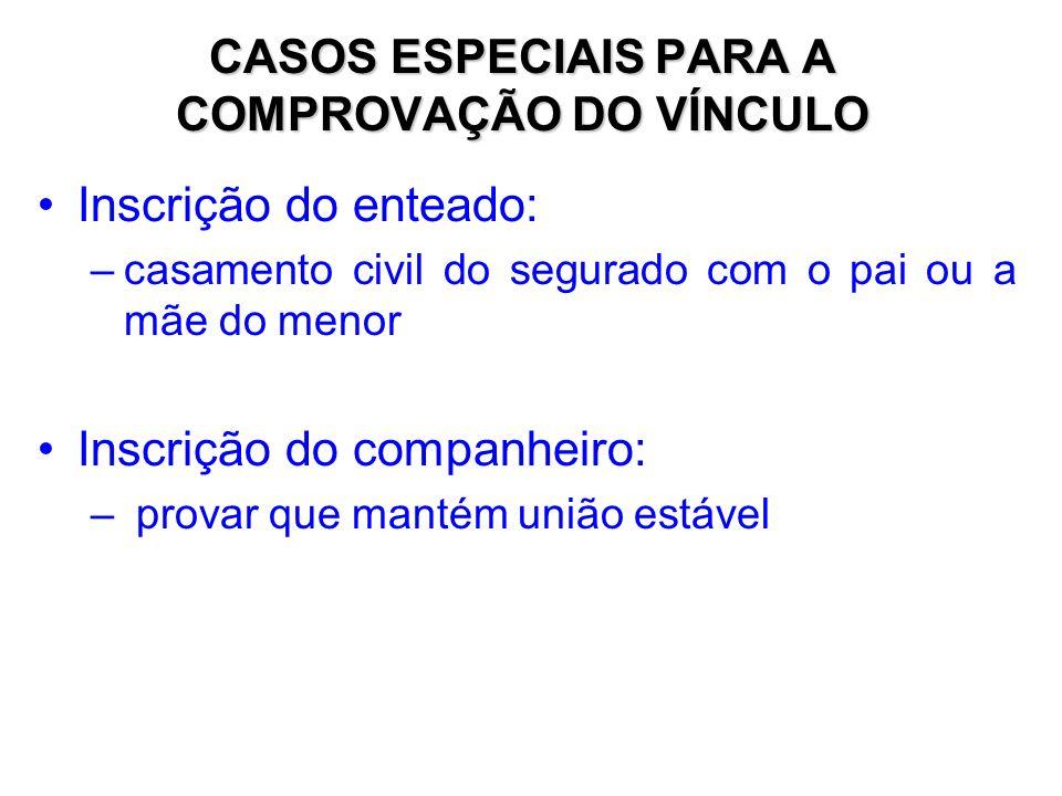CASOS ESPECIAIS PARA A COMPROVAÇÃO DO VÍNCULO