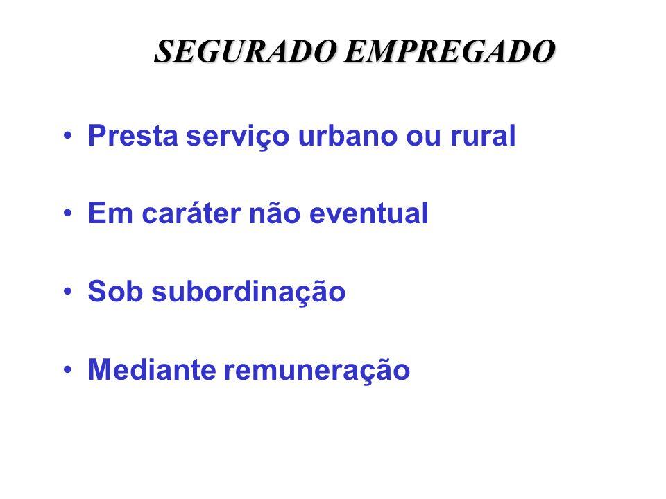 SEGURADO EMPREGADO Presta serviço urbano ou rural