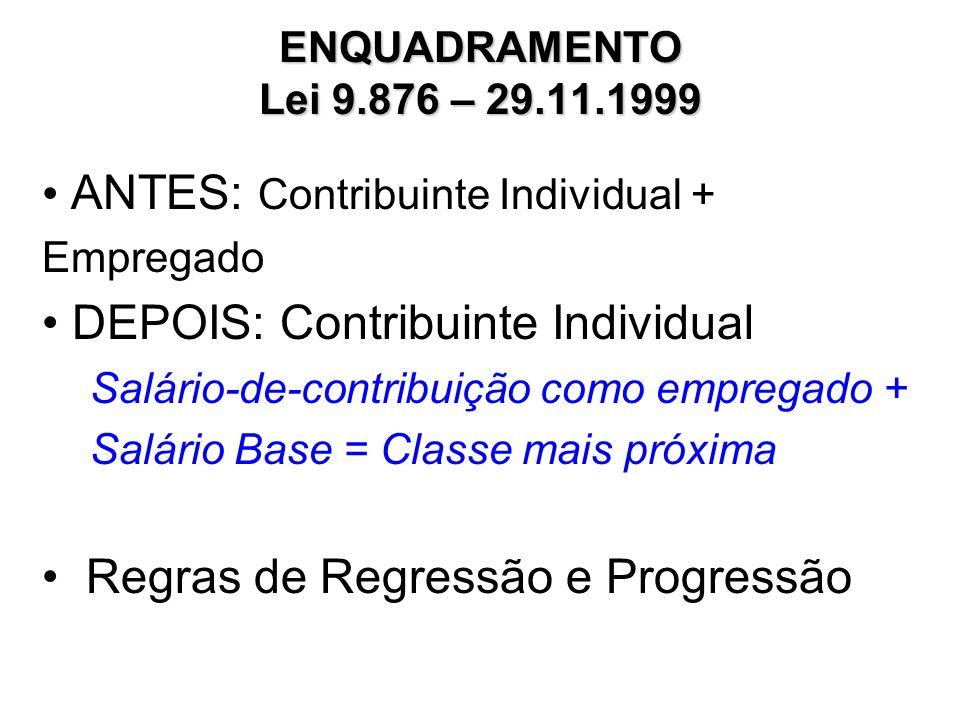 ANTES: Contribuinte Individual + Empregado