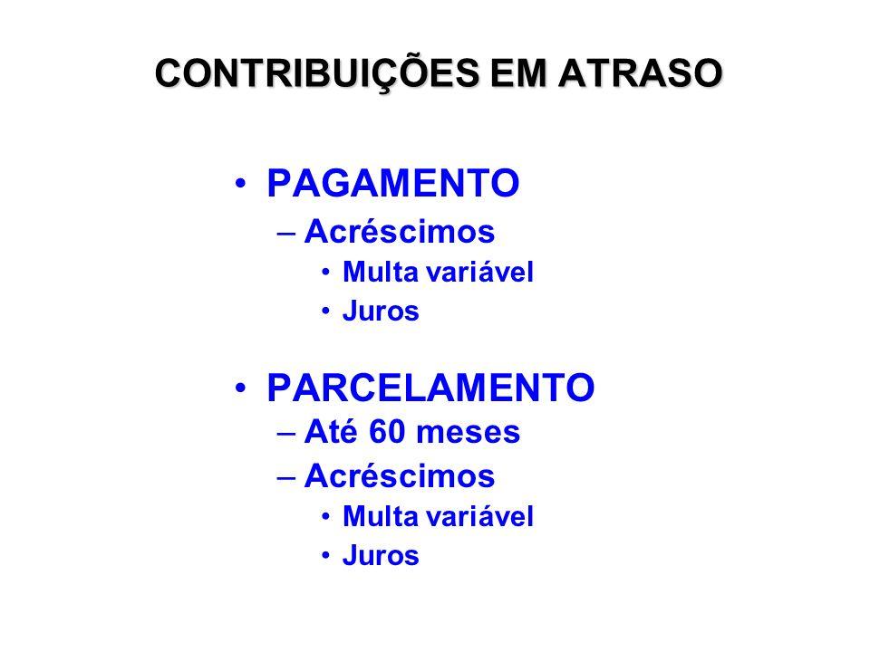 CONTRIBUIÇÕES EM ATRASO